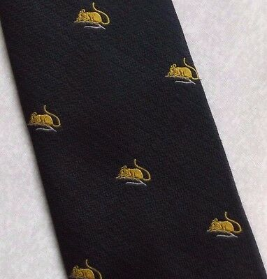 MOUSE MOTIF TIE VINTAGE RETRO CLUB ASSOCIATION NAVY GOLD BY MUNDAY 1970s 1980s