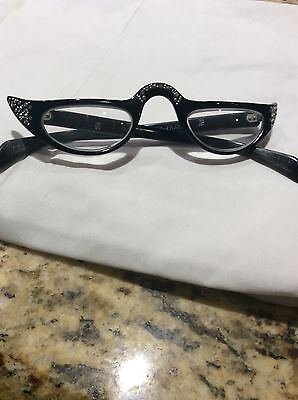 Vintage Black Pointy Rhinestone Cat Eye Glasses cateye eyeglasses frames flair
