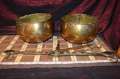 Antique Vintage Brass Scale Or Balance Brass and Copper Hanging Bowls