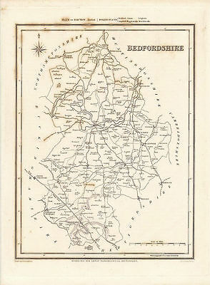 Antique Map of the Bedfordshire by R. Creighton.