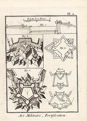 18th Century French Fortifications Copper-Plate Engraving. Pre. Revolution.