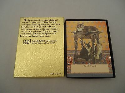 30 Sticker Antioch Publishing Bookplates 3 CATS ON TABLE From Library Of