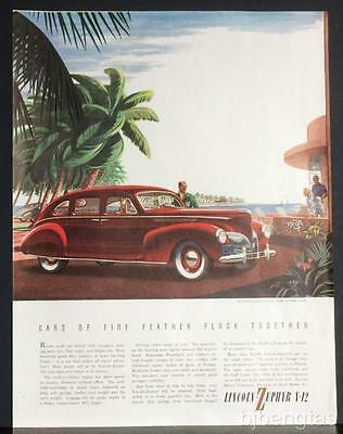 1940 Red Lincoln-Zephyr 4-Door Sedan Southern Palm Trees Sailing Harbor Print Ad