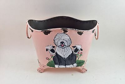 cute, footed metal planter with hand painted Old English Sheepdog and sheep!