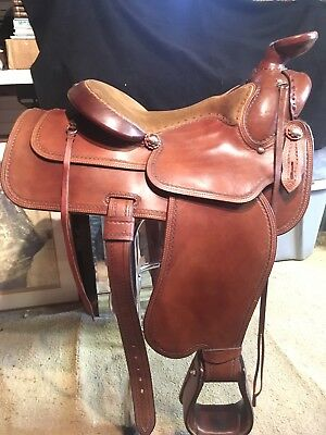 WESTERN CUSTOM MADE Saddle with Sterling Silver Conchos Maker Marked