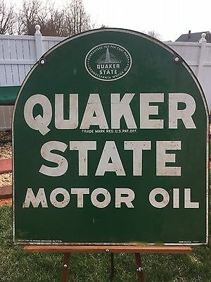 Original Dated 1951 Quaker State Motor Oil Tombstone  2-Sided Sign **great Sign!