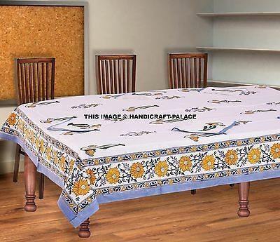 Indian Table Cloth With Napkin Block Print Cotton Handmade Floral Table Mat  Boho
