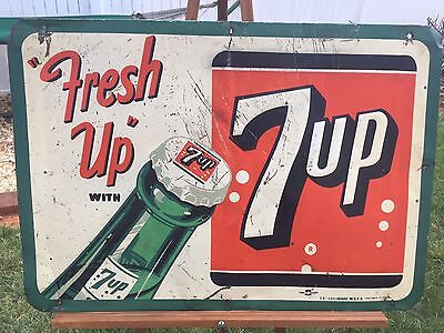 """Original Dated 1953 7 Up """"fresh Up"""" Metal Advertising Sign Rare W/great Look!!!"""