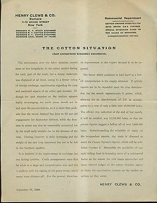 1919 Stock Market 'Cotton Report' - Henry Clews & Co.,NY