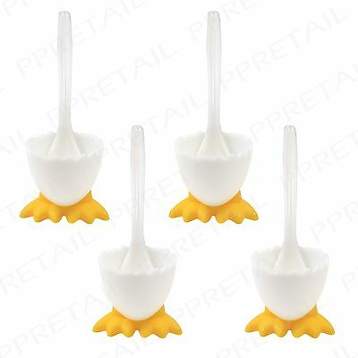 4 x Spoons & Novelty Eggcups w/ Feet +BOILED EGG HOLDER+ Breakfast/Lunch Kitchen