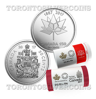 2017 Canadian 50-cent Coat of Arms of Canada & 150 Official Logo Coin (2 Rolls)
