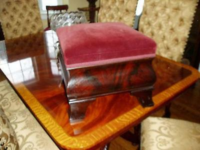 Rare Empire Victorian Large Mahogany Stool 1860's