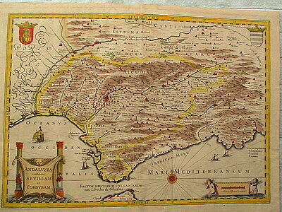 Antique WILLEM BLAEU Map ANDALUZIA CONTINENS SEVILLAM ET CORDUBAM