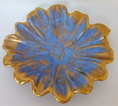 Stangl Pottery Blue & Gold Small Flower Dish