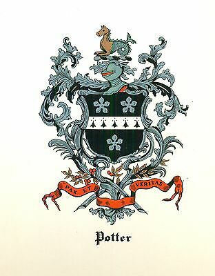 *Great Coat of Arms Potter (red) Family Crest genealogy, would look great framed