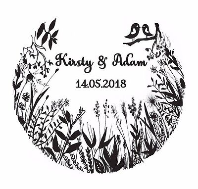 Wedding Stamp, Personalised Bespoke Initials Name & Date  Woodland