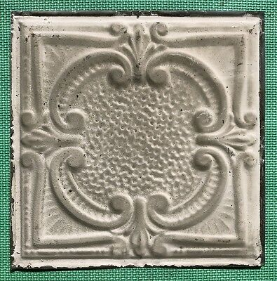 "12"" Antique Tin Ceiling Tile - Tan Paint - Pretty Framed Design - B1"