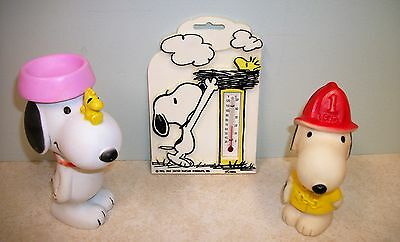 1966 Snoopy Fireman and 1972 Snoopy & Woodstock Squeak Toys Plus Thermometer