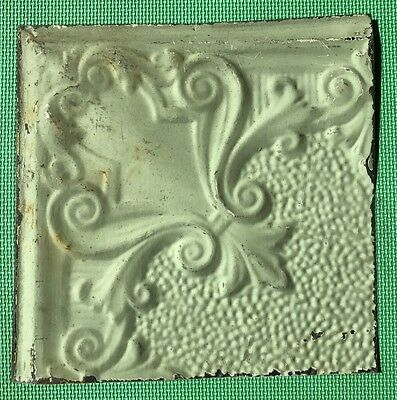 "12"" Antique Tin Ceiling Tile - Light Green Colored Paint - Pretty Design  - A2"