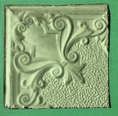 "12"" Antique Tin Ceiling Tile - Light Green Colored Paint - Pretty Design  - A3"