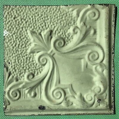 "12"" Antique Tin Ceiling Tile - Light Green Colored Paint - Pretty Design  - A4"