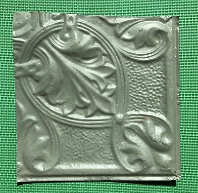 "12"" Antique Tin Ceiling Tile - Grayish Green Colored Paint - Pretty Design  - A3"