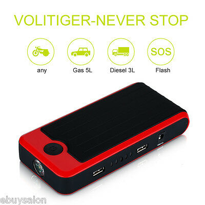 12000mAh Chargeur Auto Jump Starter Booster Batterie Voiture 2USB Power Bank LED