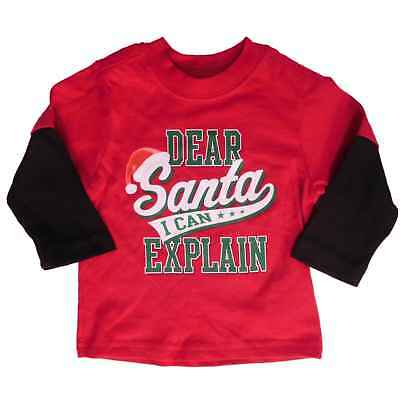 Holiday Time Infant Boys Santa I Can Explain Christmas Long Sleeve Shirt