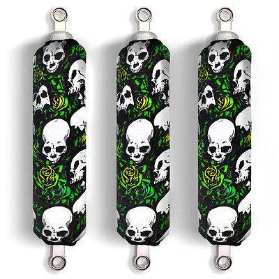 Green Skull Shock Covers Yamaha Blaster YFS Raptor YFM 250 350 660 700R (Set 3)