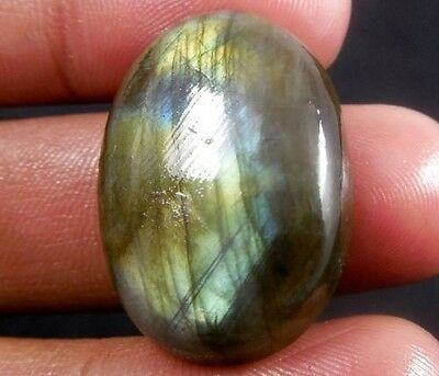 LARGE 16x12mm OVAL CABOCHON-CUT NATURAL AFRICAN LABRADORITE GEMSTONE