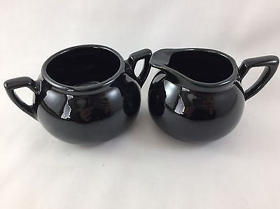 Vintage DICKOTA Pottery Sugar and Cream bowls Lovely Black