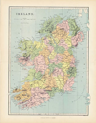 Antique Color Map of Ireland.