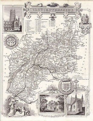 Map of the Gloucestershire by Thomas Moule. Illustrated. Circa. 1852.