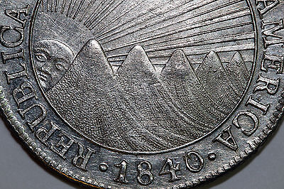 One 1840 Central American Republic 8 Reals Net About Uncirculated (CA1840-8R1)