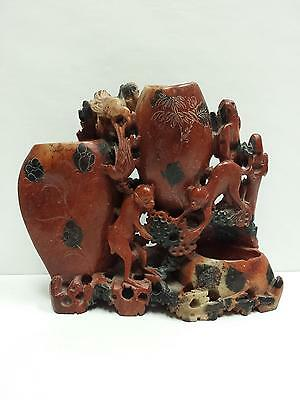 Antique Chinese Soapstone Hand Carved Monkeys