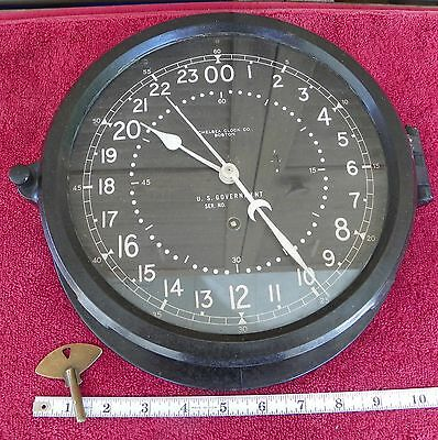 Vintage 10.5in Chelsea Military Ship Clock 24 Hr Dial 8 inch Dial Running