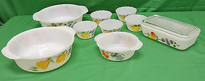 Vintage Kitchen Glass Hocking Fire King GAY FAD Fruit Nesting bowls 10 piece