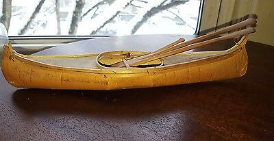 Stamped Penobscot Indian Birch Bark Canoe w/ Paddles from Brockton Fair 1944 NR