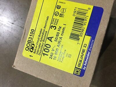 Square D QOB3100 Circuit Breaker 3 Pole 100 Amp 240 Volt Bolt-on