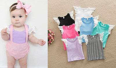 Infant Baby Girl Clothes Newborn Toddler Kids Summer Cotton Top Tshirt 0-24 M