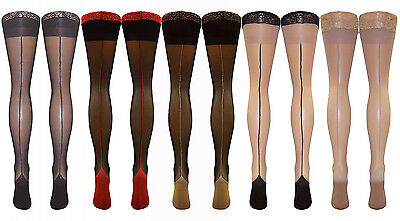 Nylon Cuban Heel Lace Top Hold up Stiletto Seamed Stockings 15 Denier