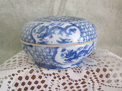Chinese Reticulated RARE Markings  Hand Painted Blue White Dragons Lidded Bowl