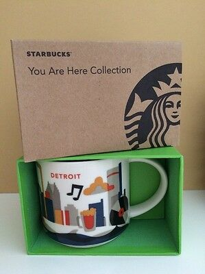 Starbucks You Are Here YAH Collection Detroit Coffee Mug 14 Fl Oz New