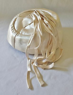 Lovely Vintage C1950's Womens Cream Satin Hat With Long Matching Tassles