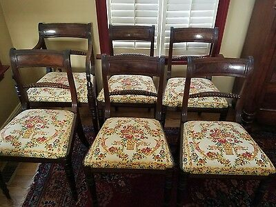 6 antique English Regency dining room chairs