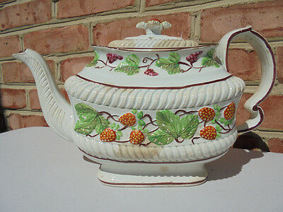 Old Antique Early 19th C Staffordshire Strawberry Teapot Castleford Stoneware ?