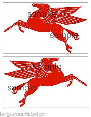 New Peel And Stick Mobil Gas Oil Decal 8 Inch  Pegasus Horse Mirror Double