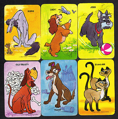 Vintage Swap Cards - Lady & the Tramp x 6 (BLANK BACKS)