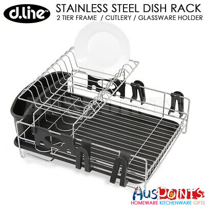 D.LINE Stainless Steel 2 Tier Dish Rack Drying Cutlery Drainer Drain Tray