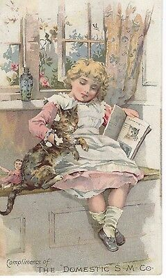 Victorian Advertising Trade Card ~Girl with Cat ~Domestic Sewing Machines